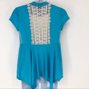 Iz Byer Girl Size 14 Blue Crochet Back Top w/ Tank